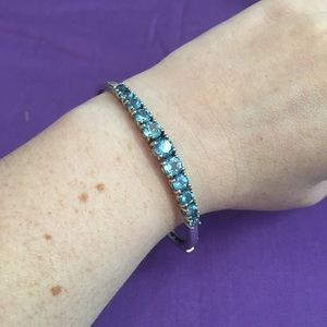 Jewelry - REAL aquamarine 11 stone sterling silver bracelet